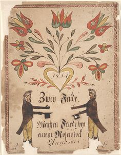 Drawing (Two Friends with Flowers)  Pennsylvania, 1814