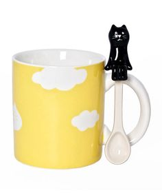 Another great find on #zulily! 8-Oz. Buttercup Cat Mug & Spoon #zulilyfinds