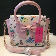 Betsey Johnson Rope Chain Floral Pink Bow Medium Tote Bag NWT $88 MSRP #BetseyJohnson #TotesShoppers