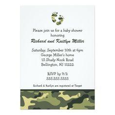 Camo Army Green Baby Feet Shower Invitation