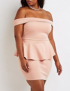1b05acc78b7 Plus Size Off-The-Shoulder Peplum Dress Fashion 101