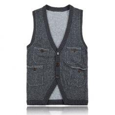 $14.68 Retro Mix Match Multi-Pocket Knitting Vest for Men