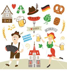 Set of Germany and bavaria symbols vector- by Lenlis on VectorStock®