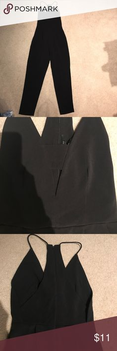 Black pant Jumpsuit Too long for me. Never worn. Forever 21 strap back zip up jumpsuit with pleated front bodice and pockets. 93% poly 3%spandex Forever 21 Pants Jumpsuits & Rompers
