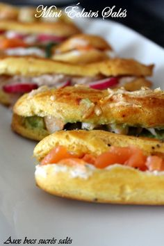 Mini éclairs for an aperitif - With sweet and savory beaks - - Eclairs, Tapas, Vol Au Vent, Mantecaditos, Mini Sandwiches, Party Finger Foods, Appetisers, High Tea, Street Food