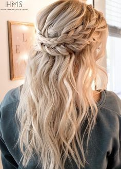Double Braids pinned from side to side