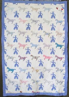 """RARE Vintage 30s American Cowboy Horses Rodeo Feedsack Applique Quilt Folk Art 