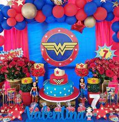 Wonder Woman Cake, Wonder Woman Birthday, Birthday Woman, Christmas Tree Feathers, Birthday Cake, Women, Ideas, Balloon Arch, Globe Decor