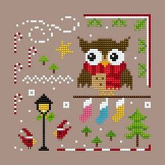 Owl Christmas Ornie 1 PDF cross stitch chart  * * this is a PDF chart * *  no copy/chart will be emailed to you  designed by Helga Mandl Designs  (wonderful new designer we discovered)  cute little owl ornament. This is the 1st in a series of 4...