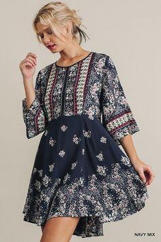 Umgee floral print bell sleeve boho swing mini Dress S M L #umgee #Sundress #casual