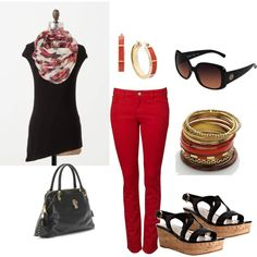 """""""red pants"""" by marnifox on Polyvore"""