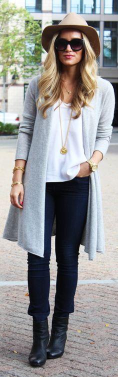 Grey Woolen Maxi Cardi