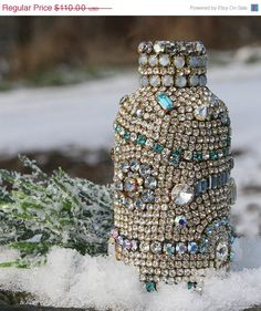 SALE Vintage Rhinestones Jeweled Glass Bottle by ASoulfulJourney, $88.00