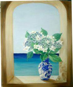 Lace Cap Hydrangeas Oil Painting flowers in a blue by MARVINSTUDIO https://www.etsy.com/shop/MARVINSTUDIO?ref=hdr_shop_menu
