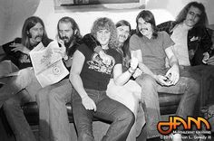 """A GROUP PHOTO Taken For JAM Magazine Of The """"ORIGINAL"""" MOLLY HATCHET BOYS (L-R) Duane Roland (Guitar); Banner Thomas (Bass); Bruce Crump (Drums); Dave Hlubek (Guitar); Danny Joe Brown (Vocals) & Steve Holland (Guitar) ... During the FLIRTIN' WITH DISASTER Tour 1979 - 1980. ** THESE BOYS ARE & WILL ALWAYS BE THE REAL DEAL!! **"""