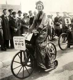 """Now we're talking vintage! A fine lady in some kind of """"race"""" or tour in 1885. Baffled by the bike, but a pretty cool photo."""
