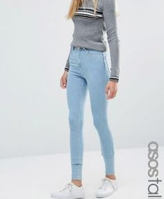 ASOS TALL Ridley High Waist Skinny Jeans in Freya Light Stonewash Blue. Tall Jeans in longer sizes for tall women. Jeans For Tall Women, Tall Jeans, Women's Jeans, Model Legs, Tall Clothing, Love Jeans, Tall Guys, Casual Wear, Supermodels