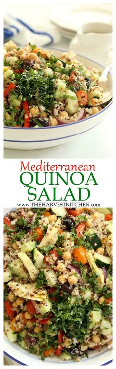 This crowd-pleasing Mediterranean Quinoa Salad is loaded with quinoa, cucumbers, tomatoes, purple onion, red bell peppers, kalamata olives and lots of fresh basil. It makes a delicious light lunch or side salad to serve at barbecues and potlucks. | quinoa salad recipes | | healthy recipes | | clean eating |