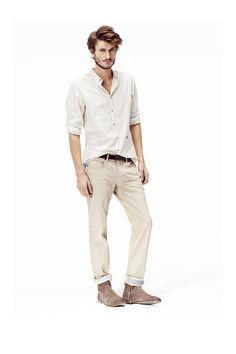 Chemise homme et pantalon beige : Vêtements homme été