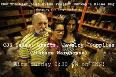 CNN The Next List films at CJS Sales: Crafts, Jewelry, Supplies (Vintage Warehouse)!! Airs this Sunday at 2:30pm ET only on CNN. Diana Eng is a fashion designer (Project Runway 2nd season) who gets her inspiration from shopping at CJS! http://whatsnext.blogs.cnn.com/2013/02/19/high-tech-meets-high-fashion/   Please watch! Thank you, Elyse