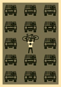 Bike Art from Brazil – Cabelo's Posters Cycling Quotes, Cycling Art, Cycling Bikes, Bike Illustration, Bike Poster, Bicycle Art, Advertising Signs, Road Bike, Stress