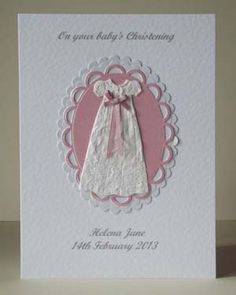 Personalised Christening card – pink ribbon (P201) - Crafty Magpie