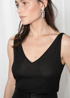 a52f7a200db Ribbed V-Neck Top - Black - Tanktops  amp  Camisoles -  amp  Other