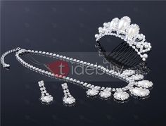Glamorous Alloy with Pearl Wedding Jewelry Set(Including Tiara,Necklace and Earrings) : Tidebuy.com