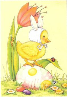 Baby Chick Easter Bunny Ear Hat Easter Egg Jelly Bean Magnet Mary Engelbreit Art | eBay