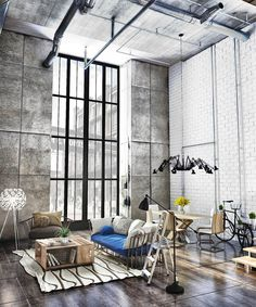 23 Creatively Industrial Interior Design Ideas for House or Office ⋆ aviatech. Vintage Industrial Decor, Industrial Interior Design, Industrial Interiors, Industrial House, Industrial Chic, Industrial Stairs, Contemporary Interior, Industrial Bedroom, Vintage Modern