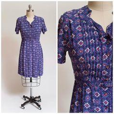 1950s Vintage Dress Purple Mosaic Print Silk by stutterinmama