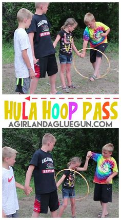 This game is quick, easy and only involves people and a hula hoop! Perfect for a family reunion or classroom party! Have two teams and race to see who can get the hula hoop passed all the way to end and back! Make a line (or circle) of people…all holding hands. the hula hoop has …