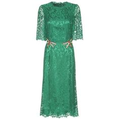 Dolce & Gabbana Crystal-Embellished Lace Dress (18,720 SAR) ❤ liked on Polyvore featuring dresses, dolce & gabbana, green, green cocktail dress, green lace dress, lacy dress, green dress and lace cocktail dress