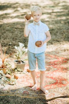 Boy`s summer shirt in white - with turquoise rombs colour, cactus shorts, beige bow tie. Summer Shirts, Kids Wear, Summer Collection, Fashion Brand, Little Girls, Polka Dots, Flower Girl Dresses, Spring Summer, Turquoise