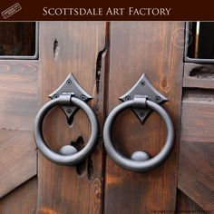 Door Pull Rings   Hand Forged Wrought Iron   HDP55A   Custom Door Handles  Handcrafted From