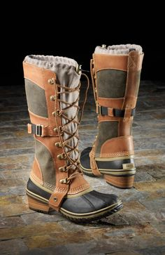 Sorels Conquest Carly - a sexy winter boot that will actually let you stay up on ice Snow Boots, Winter Boots, Rain Boots, Bootie Boots, Hiking Gear, Hiking Boots, Boot Over The Knee, Cute Boots, Boots