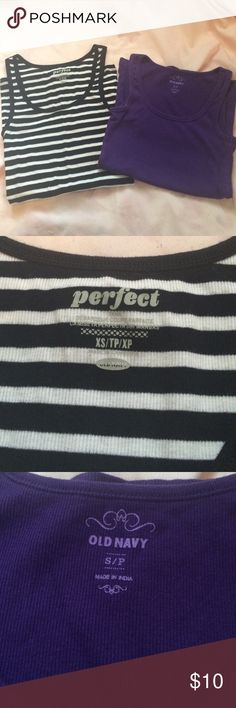 Old Navy Tank Tops Black and white striped one is XS. Purple one S/P. $10 each or 2 for $16. Old Navy Tops Tank Tops