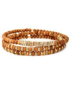 Gigi Chic Hippie Scattered Crystal and Wood Beaded Bracelet Set