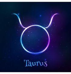 Blue shining cosmic neon zodiac Taurus symbol vector