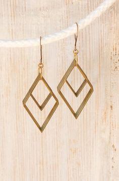 Modern Tribal Brass Diamond Earrings by Prairieoats