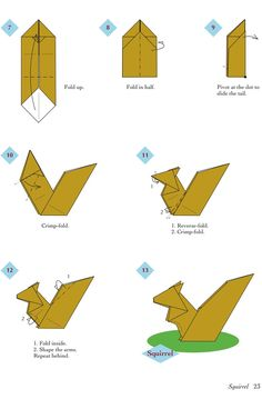 Easy Origami Animals - page 4 of 6 (Squirrel - 2 of 2)
