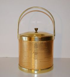 Vintage Mid Century Barware Ice Bucket Gold and by JudysJunktion, $39.00