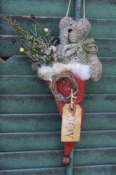 Primitive, Christmas, Ornie, Pattern, Ornament, Joy, Folk Art, Teddy Bear, Santa's Hat, Holiday, Red, German Glass Glitter