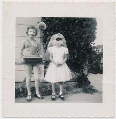 ODD CIGARETTE GIRL & CREEPY KID BRIDE in HALLOWEEN COSTUME MASKS vtg 50's photo