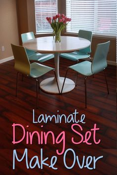 Laminate Dining Set Re-Do! I know this is a DIY project but this set is so my st… Laminate Dining Furniture Projects, Furniture Makeover, Home Projects, Diy Furniture, Coaster Furniture, Ikea Dining Sets, Consoles, Patio Dining, Dining Room