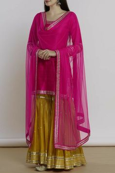 Buy Embellished Kurta Sharara Set by Priyal Prakash at Aza Fashions Sharara Designs, Kurti Designs Party Wear, Pakistani Bridal Dresses, Pakistani Dress Design, Bridal Lehenga, Dress Indian Style, Indian Dresses, Indian Wedding Outfits, Indian Outfits