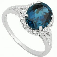 3.44 CT GENUINE LONDON BLUE TOPAZ & DIAMONDS STERLING SILVER RING SZ 7