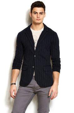 19a17d5f3d8 Armani Exchange Mens Striped Blazer