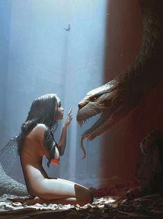 ;-)~❤~ #fantasy art  girl and #dragon