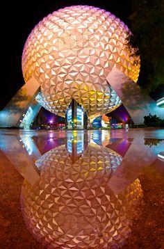 Spaceship Earth Reflection! More photos like this at http://DisneyTouristBlog.com